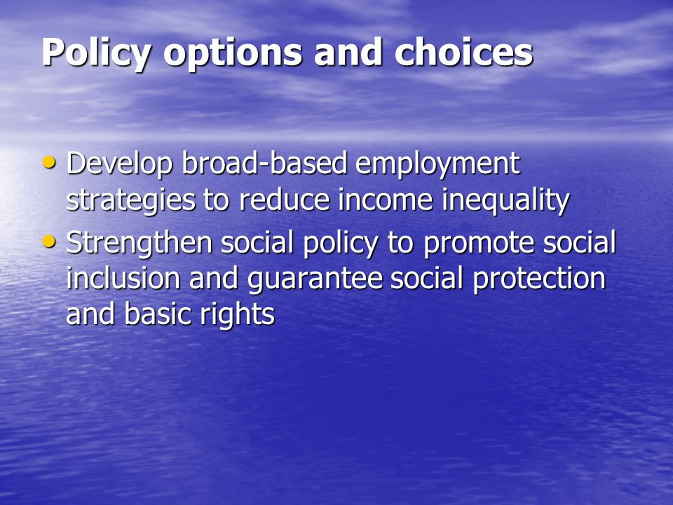 Policy options and choices Develop broad-based employment strategies to reduce income inequality Develop broad-based employment strategies to reduce income inequality Strengthen social policy to promote social inclusion and guarantee social protection and basic rights Strengthen social policy to promote social inclusion and guarantee social protection and basic rights