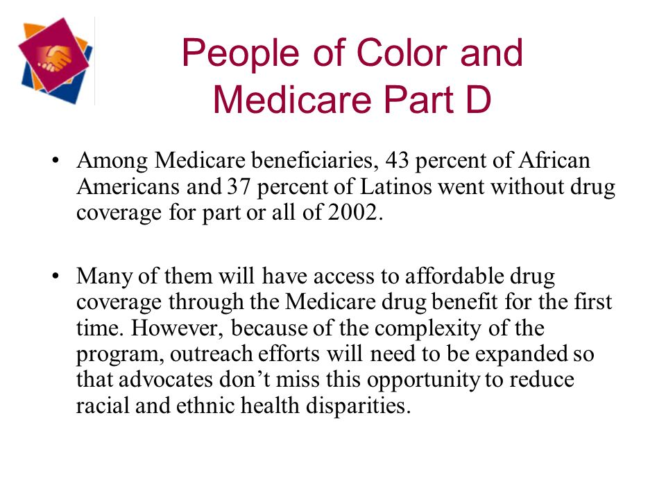 People of Color and Medicare Part D Among Medicare beneficiaries, 43 percent of African Americans and 37 percent of Latinos went without drug coverage for part or all of 2002.