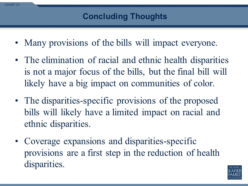 CHART 21 Concluding Thoughts Many provisions of the bills will impact everyone.