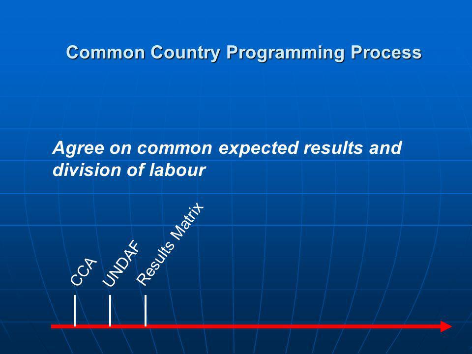 JSM CCA UNDAF Results Matrix Agree with Government on main programme strategies Common Country Programming Process