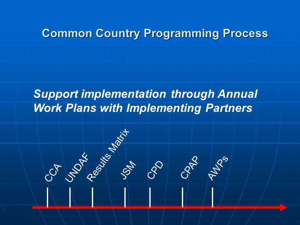 Annual Review AWPs CCA AWPsUNDAF Results Matrix JSMCPD CPAP Review, adjust and plan for next year Common Country Programming Process