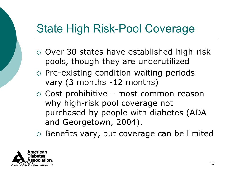 1/27/200614 State High Risk-Pool Coverage Over 30 states have established high-risk pools, though they are underutilized Pre-existing condition waitin