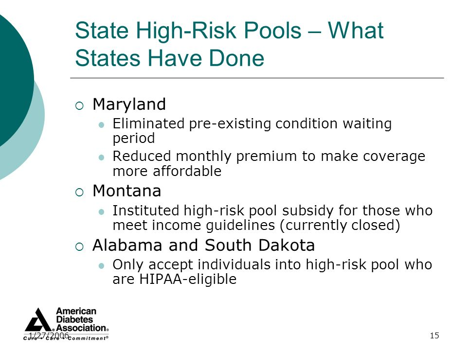 1/27/200615 State High-Risk Pools – What States Have Done Maryland Eliminated pre-existing condition waiting period Reduced monthly premium to make co