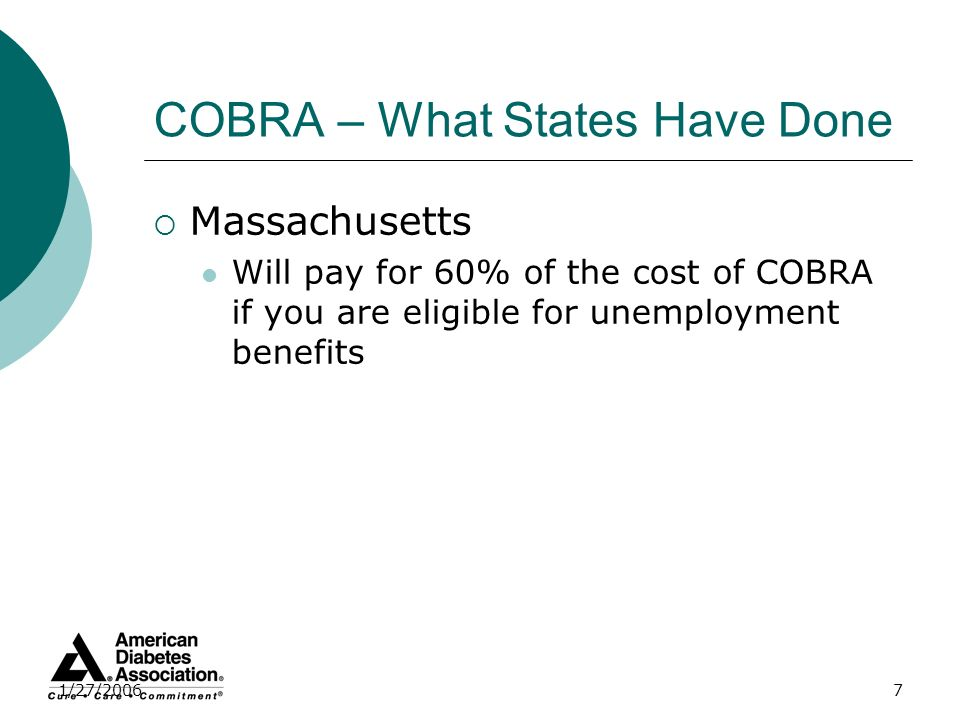 1/27/20067 COBRA – What States Have Done Massachusetts Will pay for 60% of the cost of COBRA if you are eligible for unemployment benefits