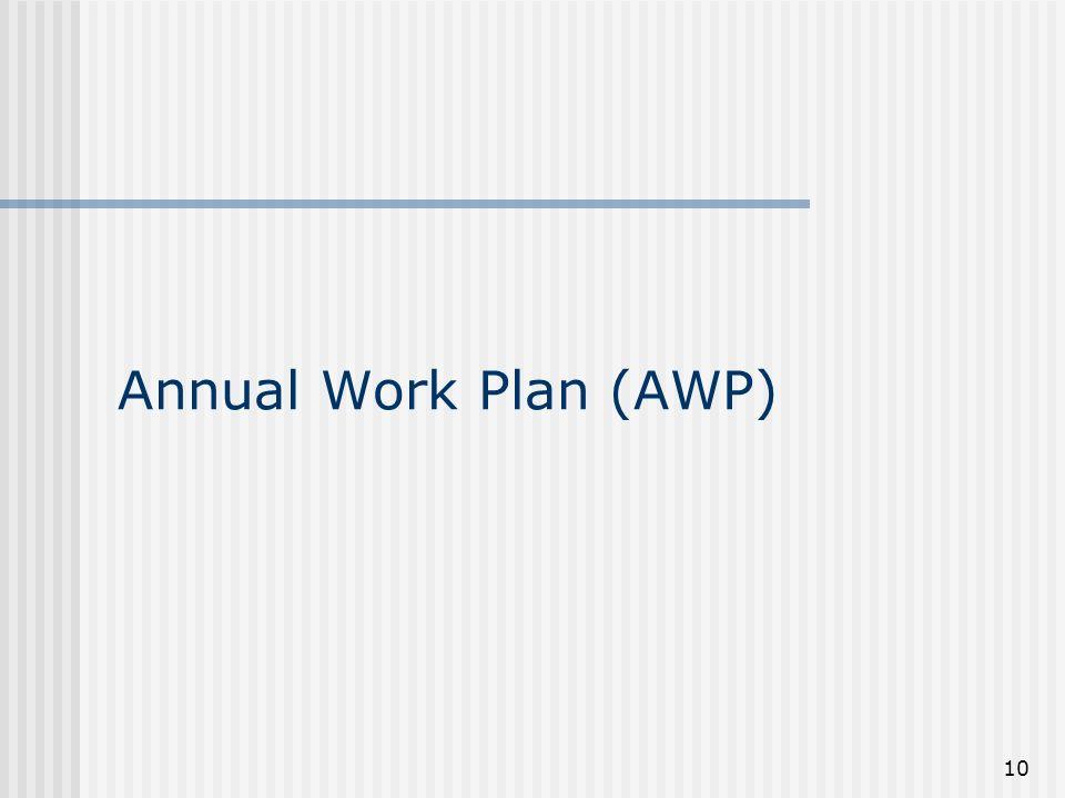 10 Annual Work Plan (AWP)