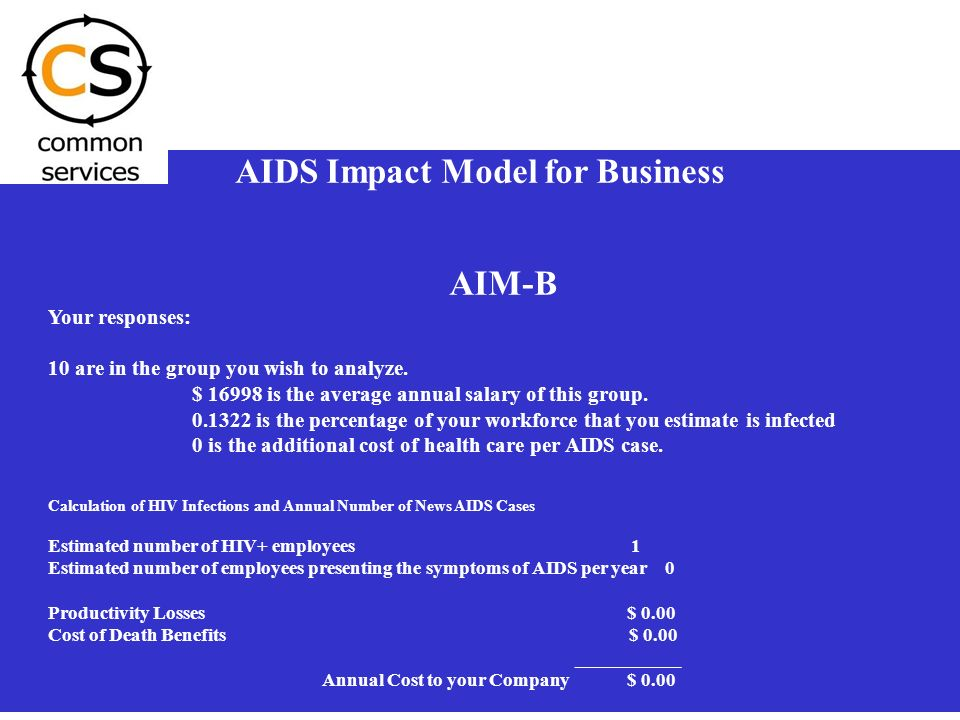 1 AIDS Impact Model for Business AIM-B Your responses: 10 are in the group you wish to analyze. $ 16998 is the average annual salary of this group. 0.