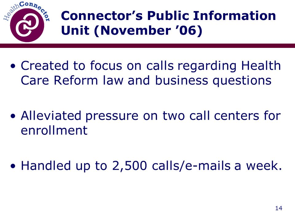14 Connectors Public Information Unit (November 06) Created to focus on calls regarding Health Care Reform law and business questions Alleviated pressure on two call centers for enrollment Handled up to 2,500 calls/e-mails a week.