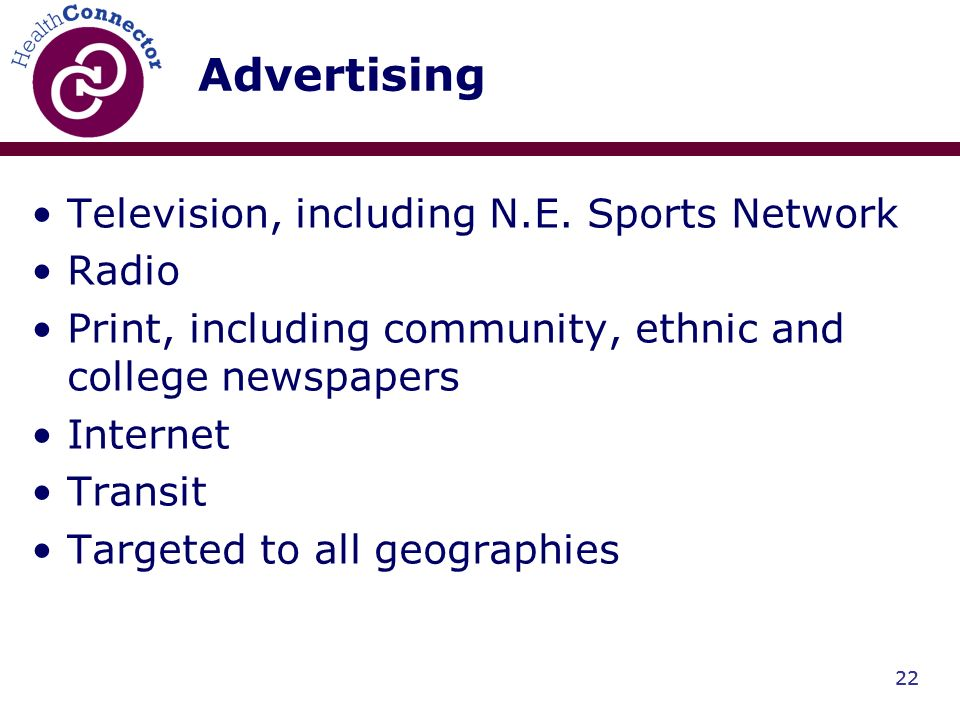 22 Advertising Television, including N.E.