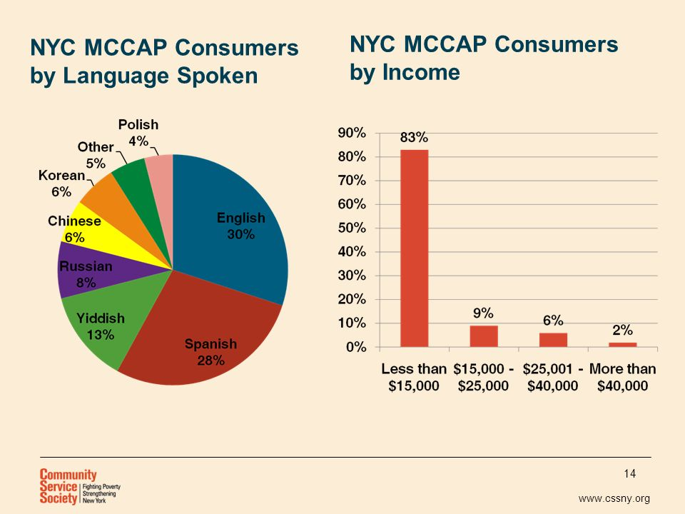 www.cssny.org NYC MCCAP Consumers by Language Spoken NYC MCCAP Consumers by Income 14