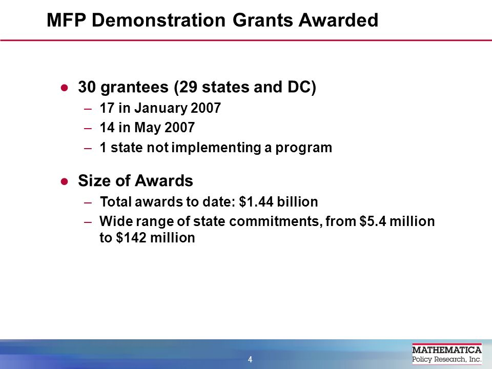 MFP Demonstration Grants Awarded 4 30 grantees (29 states and DC) –17 in January 2007 –14 in May 2007 –1 state not implementing a program Size of Awards –Total awards to date: $1.44 billion –Wide range of state commitments, from $5.4 million to $142 million