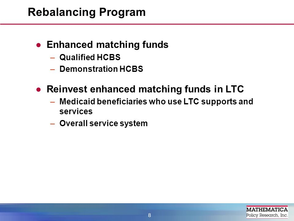 Enhanced matching funds –Qualified HCBS –Demonstration HCBS Reinvest enhanced matching funds in LTC –Medicaid beneficiaries who use LTC supports and services –Overall service system Rebalancing Program 8
