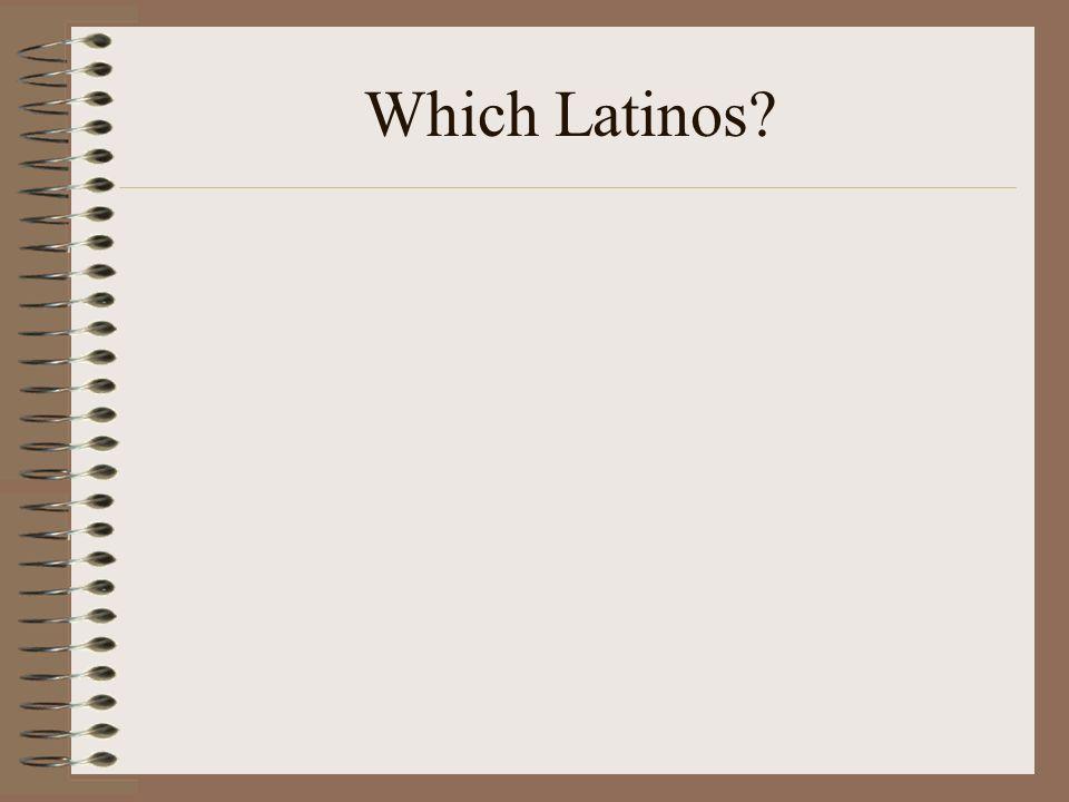 Mexican, Puerto Rican, Venezuelan, Cuban.Immigrant or second-generation.
