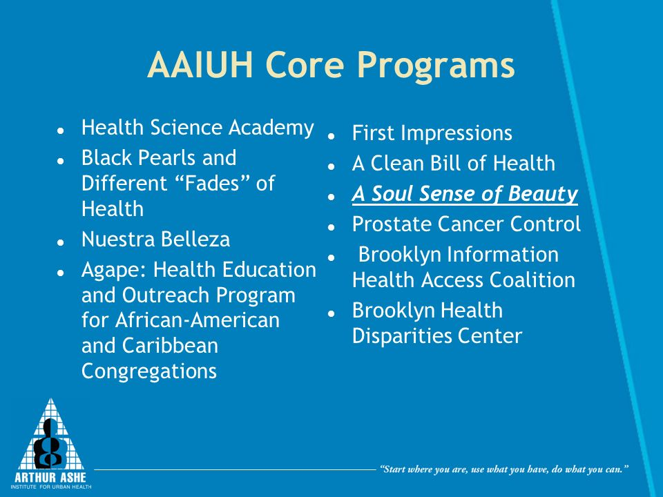 AAIUH Core Programs Health Science Academy Black Pearls and Different Fades of Health Nuestra Belleza Agape: Health Education and Outreach Program for African-American and Caribbean Congregations First Impressions A Clean Bill of Health A Soul Sense of Beauty Prostate Cancer Control Brooklyn Information Health Access Coalition Brooklyn Health Disparities Center