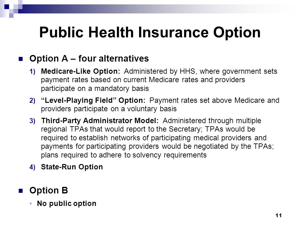 Public Health Insurance Option Option A – four alternatives 1) Medicare-Like Option: Administered by HHS, where government sets payment rates based on