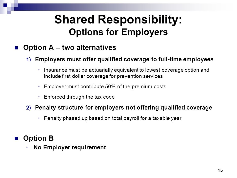 Shared Responsibility: Options for Employers Option A – two alternatives 1) Employers must offer qualified coverage to full-time employees Insurance m