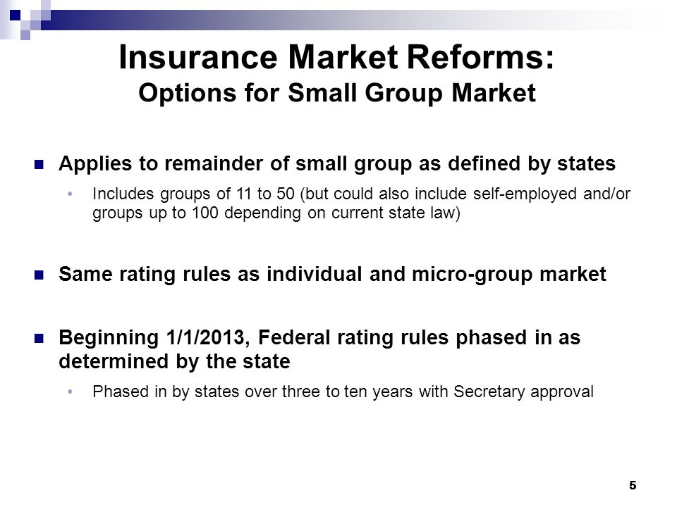 55 Insurance Market Reforms: Options for Small Group Market Applies to remainder of small group as defined by states Includes groups of 11 to 50 (but