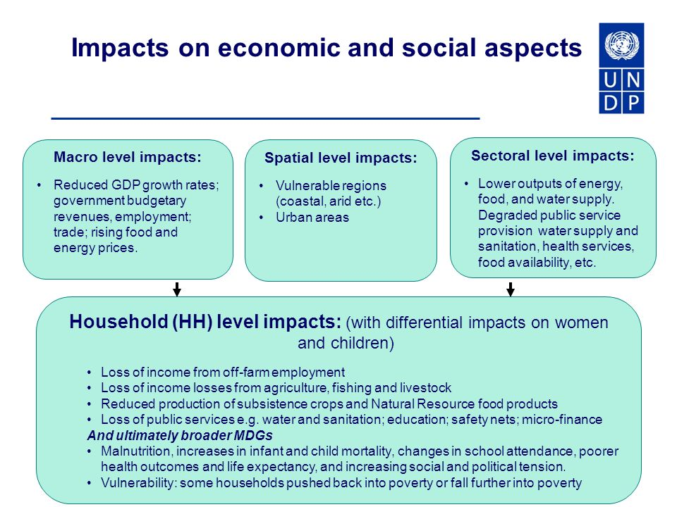 Impacts on economic and social aspects Macro level impacts: Reduced GDP growth rates; government budgetary revenues, employment; trade; rising food and energy prices.