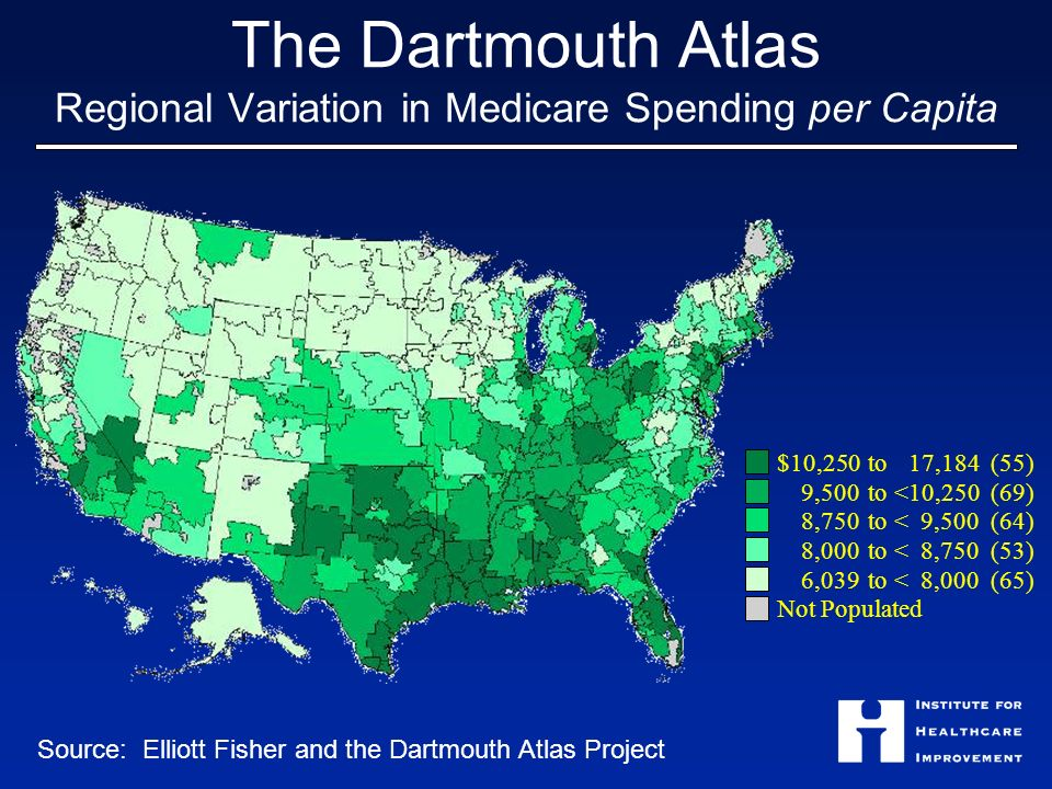 The Dartmouth Atlas Regional Variation in Medicare Spending per Capita $10,250 to17,184 (55) 9,500 to <10,250 (69) 8,750 to <9,500 (64) 8,000 to <8,750 (53) 6,039 to <8,000 (65) Not Populated Source: Elliott Fisher and the Dartmouth Atlas Project
