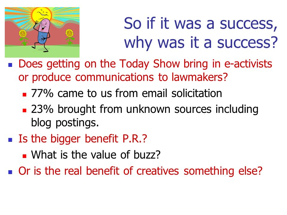 So if it was a success, why was it a success? Does getting on the Today Show bring in e-activists or produce communications to lawmakers? 77% came to