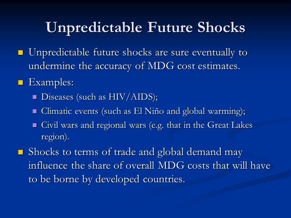 Unpredictable Future Shocks Unpredictable future shocks are sure eventually to undermine the accuracy of MDG cost estimates. Unpredictable future shoc