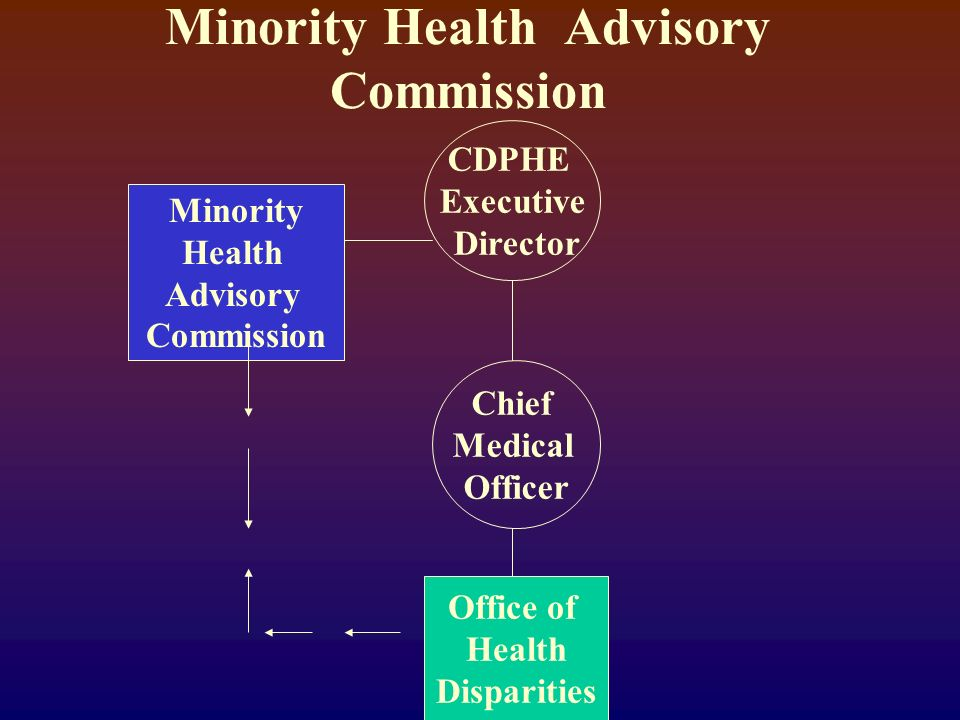 Minority Health Advisory Commission CDPHE Executive Director Minority Health Advisory Commission Chief Medical Officer Office of Health Disparities