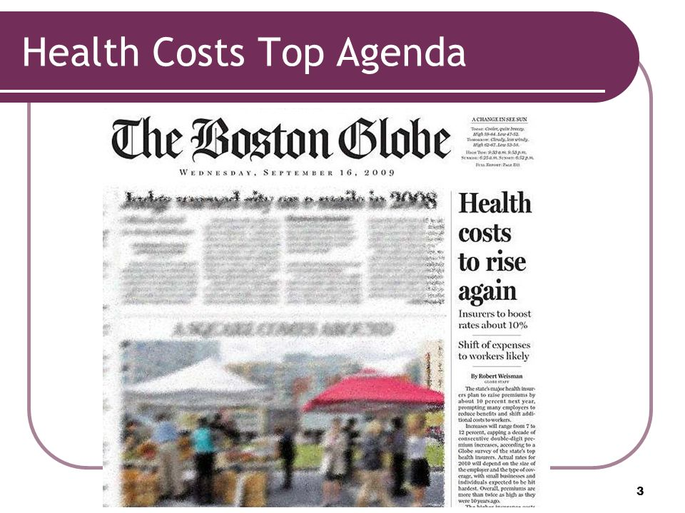 Health Costs Top Agenda 3