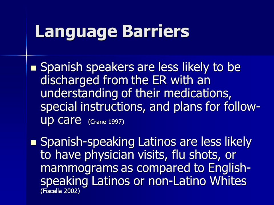 Language Barriers Spanish speakers are less likely to be discharged from the ER with an understanding of their medications, special instructions, and plans for follow- up care (Crane 1997) Spanish speakers are less likely to be discharged from the ER with an understanding of their medications, special instructions, and plans for follow- up care (Crane 1997) Spanish-speaking Latinos are less likely to have physician visits, flu shots, or mammograms as compared to English- speaking Latinos or non-Latino Whites (Fiscella 2002) Spanish-speaking Latinos are less likely to have physician visits, flu shots, or mammograms as compared to English- speaking Latinos or non-Latino Whites (Fiscella 2002)