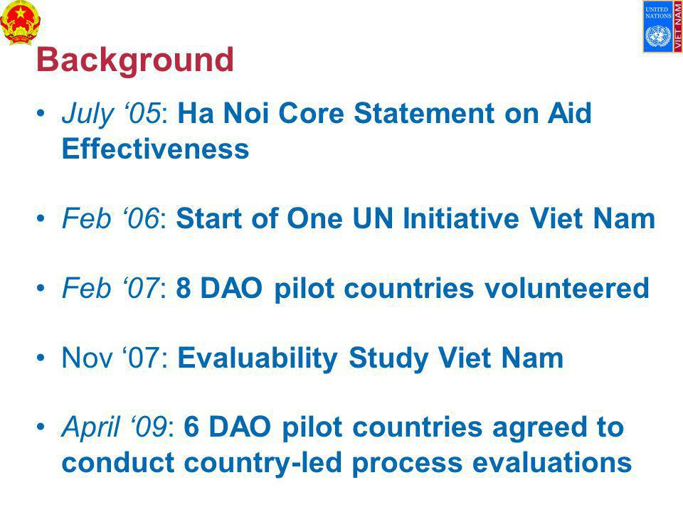 Background July 05: Ha Noi Core Statement on Aid Effectiveness Feb 06: Start of One UN Initiative Viet Nam Feb 07: 8 DAO pilot countries volunteered Nov 07: Evaluability Study Viet Nam April 09: 6 DAO pilot countries agreed to conduct country-led process evaluations