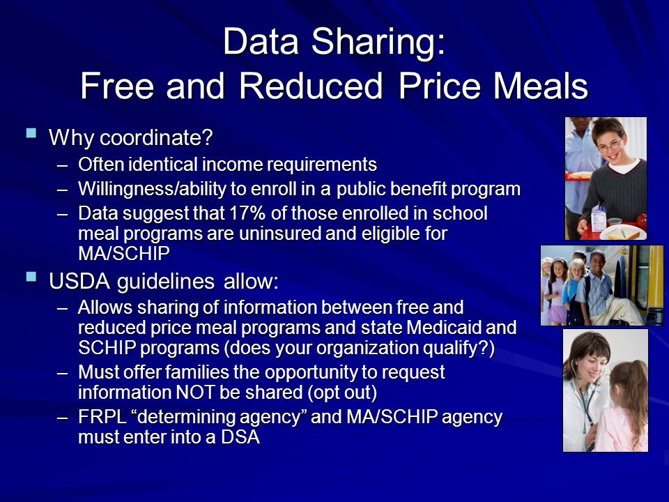 Data Sharing: Free and Reduced Price Meals Why coordinate.