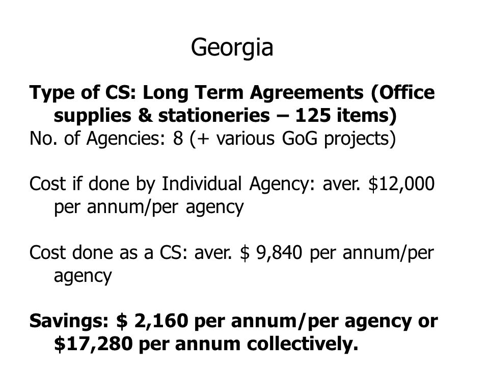 Georgia Type of CS: Long Term Agreements (Office supplies & stationeries – 125 items) No.