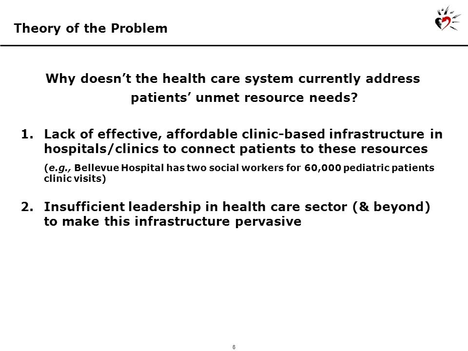 6 Theory of the Problem Why doesnt the health care system currently address patients unmet resource needs.