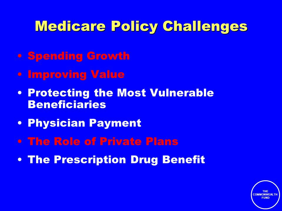 THE COMMONWEALTH FUND Medicare Policy Challenges Spending Growth Improving Value Protecting the Most Vulnerable Beneficiaries Physician Payment The Role of Private Plans The Prescription Drug Benefit