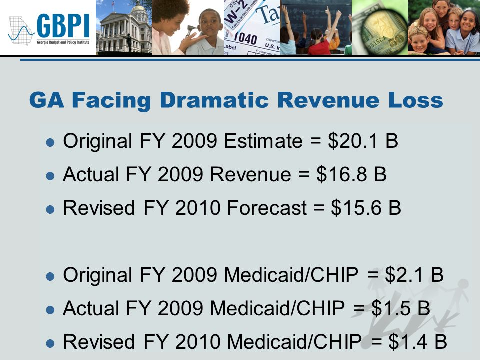 GA Facing Dramatic Revenue Loss Original FY 2009 Estimate = $20.1 B Actual FY 2009 Revenue = $16.8 B Revised FY 2010 Forecast = $15.6 B Original FY 20