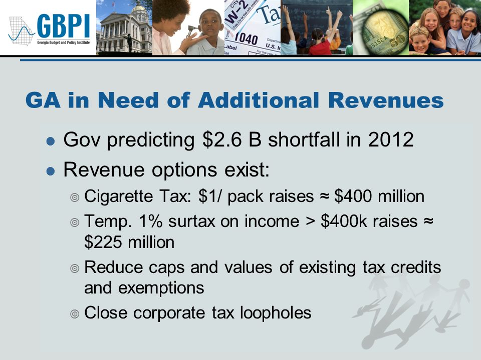 GA in Need of Additional Revenues Gov predicting $2.6 B shortfall in 2012 Revenue options exist: Cigarette Tax: $1/ pack raises $400 million Temp.