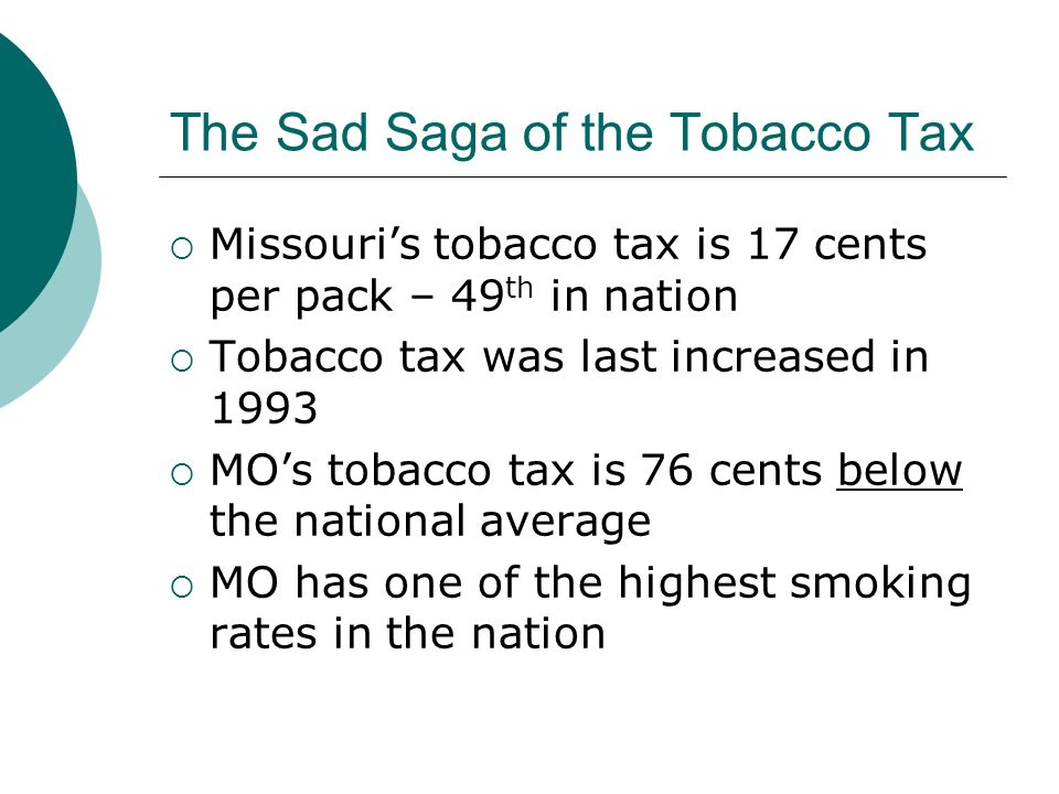 The Sad Saga of the Tobacco Tax Missouris tobacco tax is 17 cents per pack – 49 th in nation Tobacco tax was last increased in 1993 MOs tobacco tax is 76 cents below the national average MO has one of the highest smoking rates in the nation