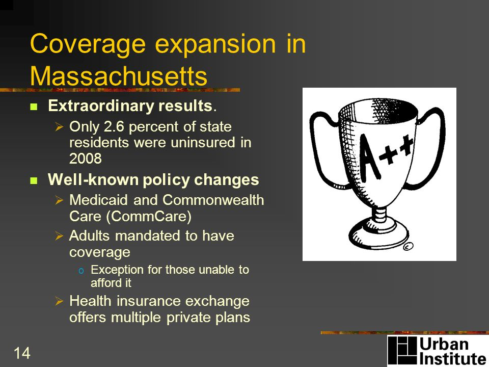 14 Coverage expansion in Massachusetts Extraordinary results.