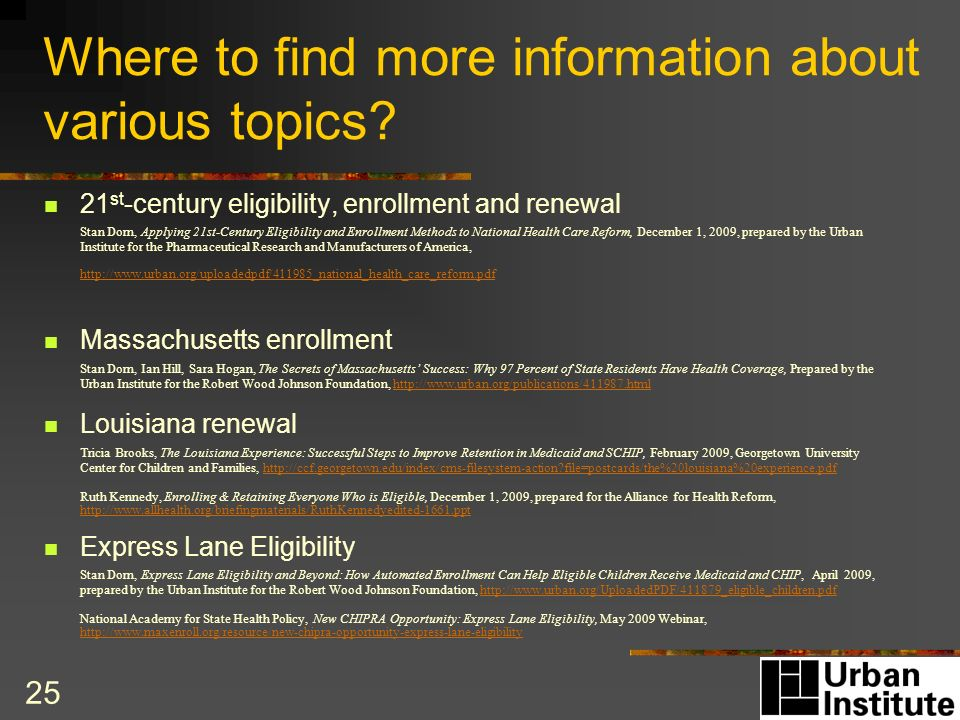 25 Where to find more information about various topics.