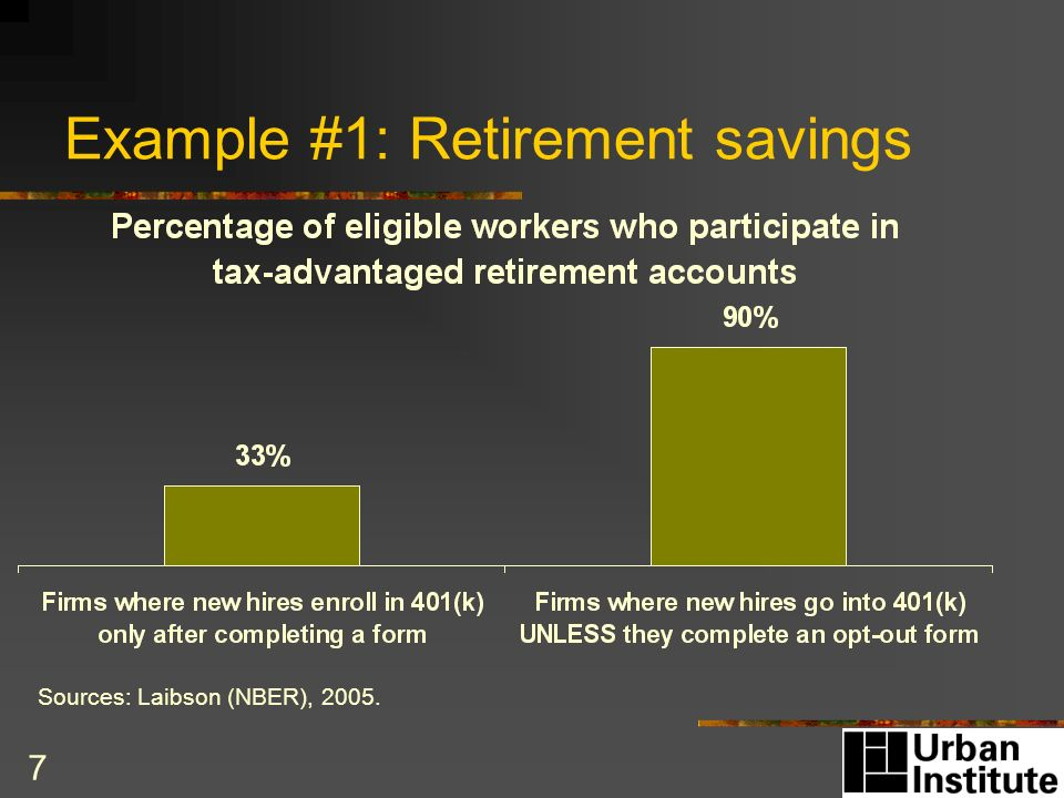 7 Example #1: Retirement savings Sources: Laibson (NBER), 2005.
