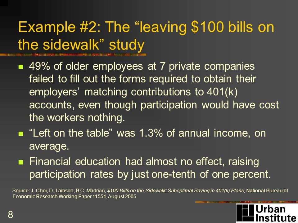 8 Example #2: The leaving $100 bills on the sidewalk study 49% of older employees at 7 private companies failed to fill out the forms required to obtain their employers matching contributions to 401(k) accounts, even though participation would have cost the workers nothing.