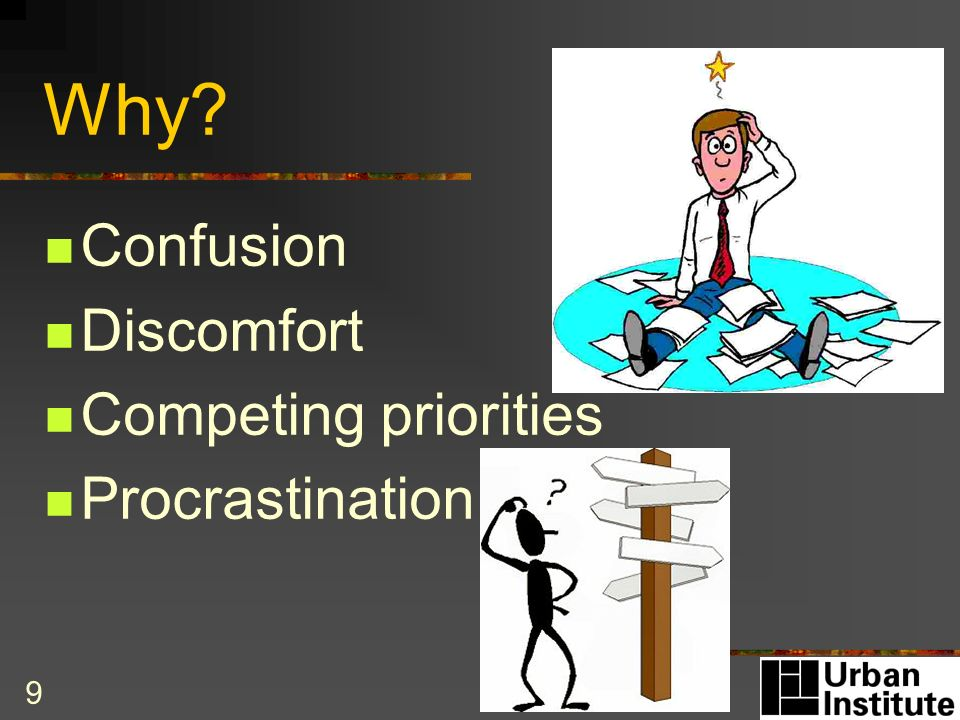 9 Why? Confusion Discomfort Competing priorities Procrastination
