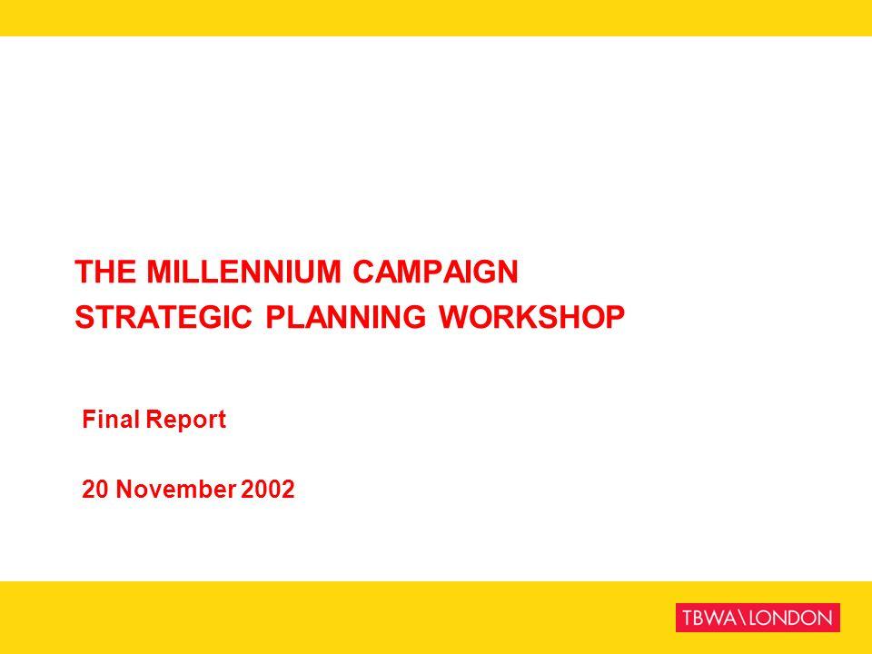 THE MILLENNIUM CAMPAIGN STRATEGIC PLANNING WORKSHOP Final Report 20 November 2002