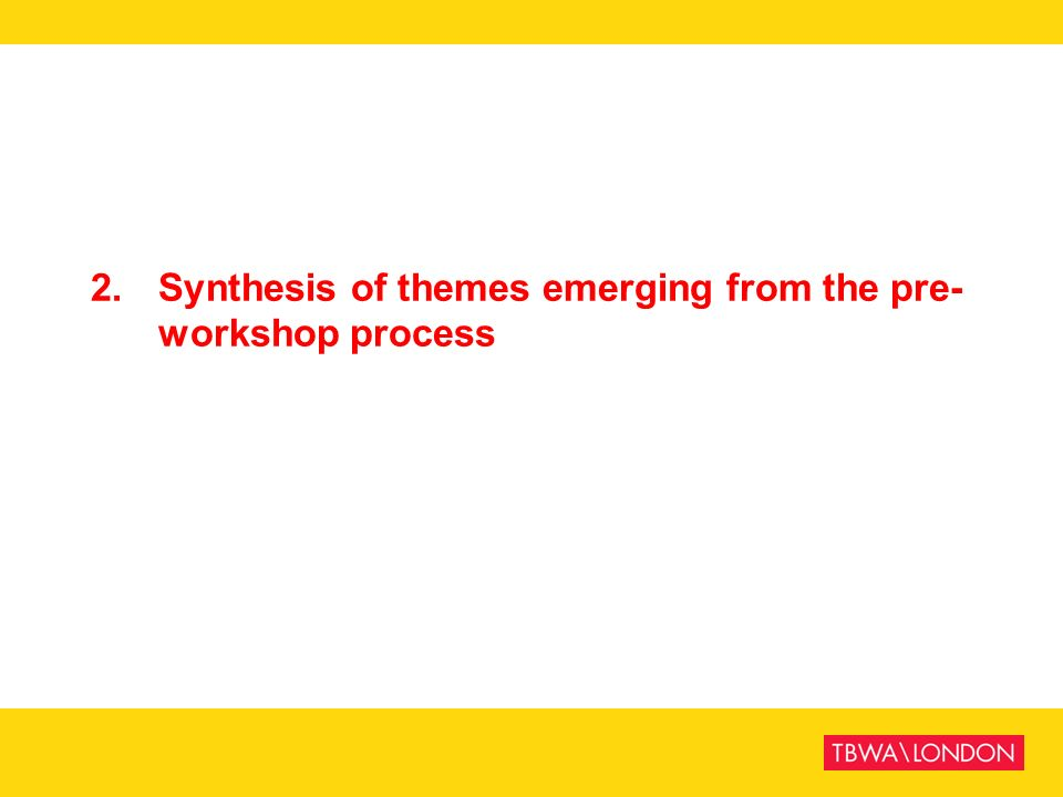 2.Synthesis of themes emerging from the pre- workshop process
