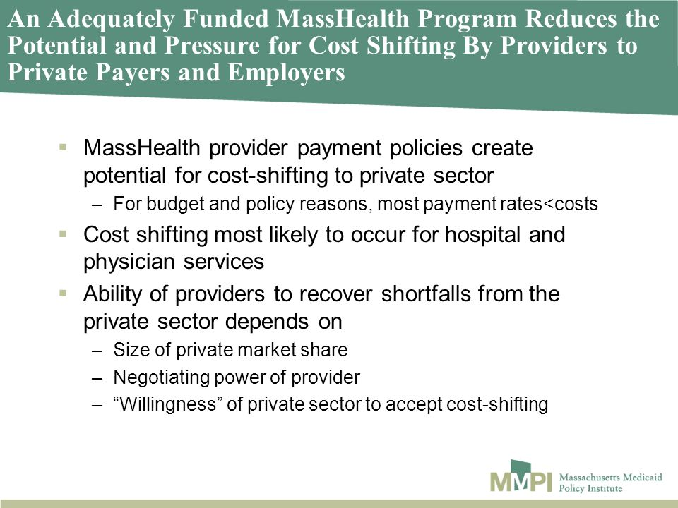 An Adequately Funded MassHealth Program Reduces the Potential and Pressure for Cost Shifting By Providers to Private Payers and Employers MassHealth provider payment policies create potential for cost-shifting to private sector –For budget and policy reasons, most payment rates<costs Cost shifting most likely to occur for hospital and physician services Ability of providers to recover shortfalls from the private sector depends on –Size of private market share –Negotiating power of provider –Willingness of private sector to accept cost-shifting