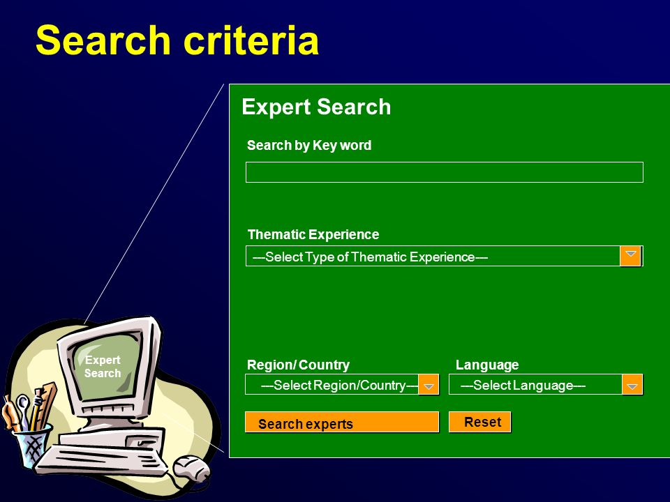 Search criteria Expert Search Search by Key word Region/ CountryLanguage ---Select Region/Country------Select Language--- Search experts Reset Expert Search Thematic Experience ---Select Type of Thematic Experience---