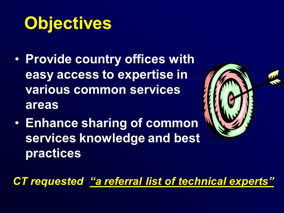 Objectives Provide country offices with easy access to expertise in various common services areas Enhance sharing of common services knowledge and best practices CT requested a referral list of technical experts