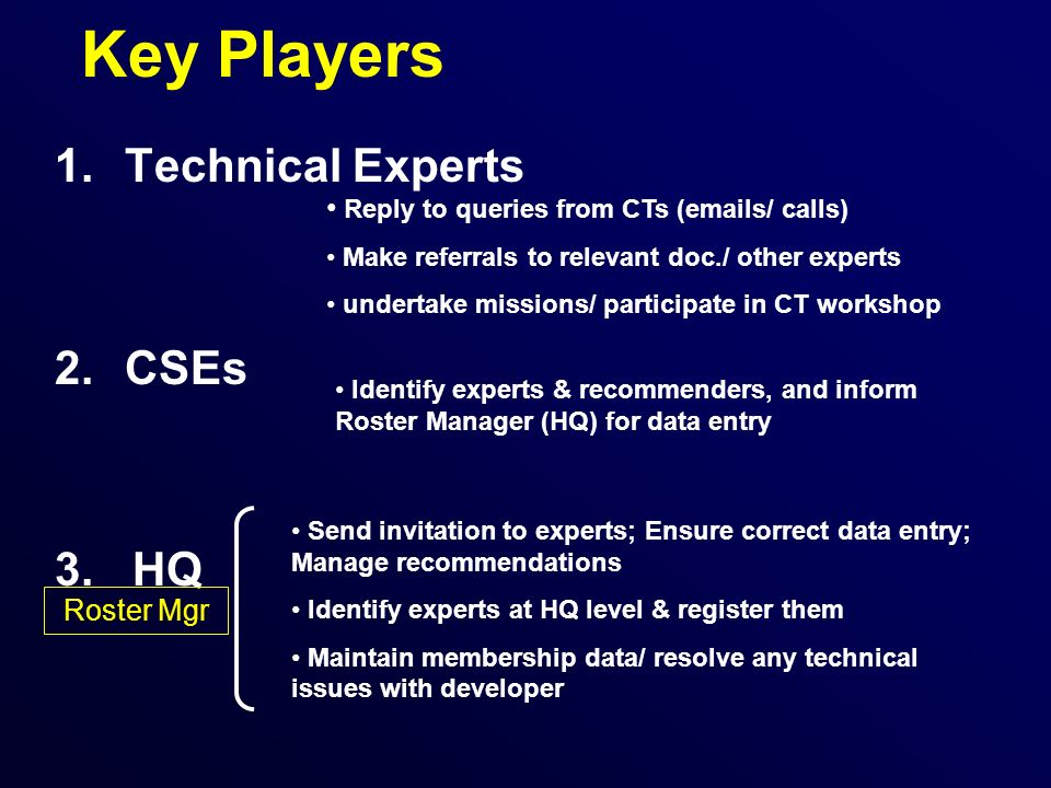 Key Players 1.Technical Experts 2.CSEs 3.