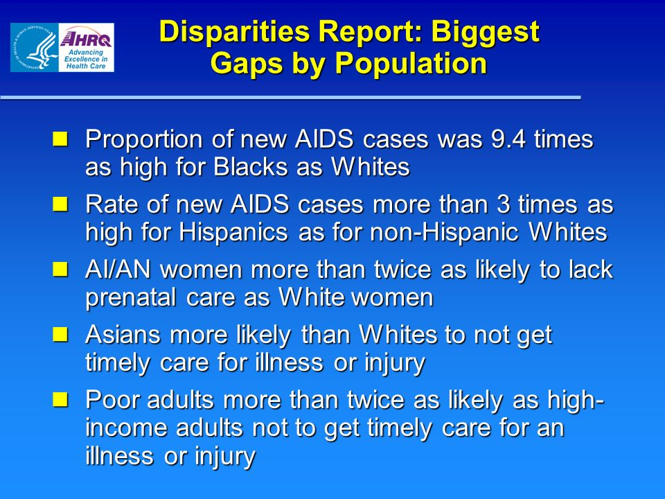 Disparities Report: Biggest Gaps by Population Proportion of new AIDS cases was 9.4 times as high for Blacks as Whites Proportion of new AIDS cases wa
