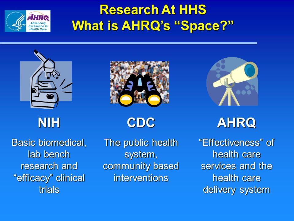 AHRQ Priorities Effective Health Care Program Medical Expenditure Panel Surveys Ambulatory Patient Safety Patient Safety Patient Safety Health IT Patient Safety Organizations New Patient Safety Grants Comparative Effectiveness Reviews Comparative Effectiveness Research Clear Findings for Multiple Audiences Quality & Cost-Effectiveness, e.g.