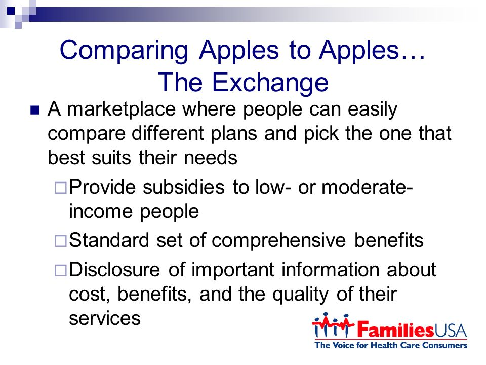 Comparing Apples to Apples… The Exchange A marketplace where people can easily compare different plans and pick the one that best suits their needs Provide subsidies to low- or moderate- income people Standard set of comprehensive benefits Disclosure of important information about cost, benefits, and the quality of their services