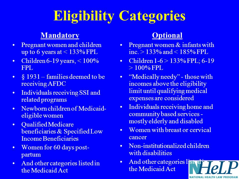 Eligibility Categories Mandatory Pregnant women and children up to 6 years at < 133% FPL Children 6-19 years, < 100% FPL § 1931 – families deemed to be receiving AFDC Individuals receiving SSI and related programs Newborn children of Medicaid- eligible women Qualified Medicare beneficiaries & Specified Low Income Beneficiaries Women for 60 days post- partum And other categories listed in the Medicaid Act Optional Pregnant women & infants with inc.
